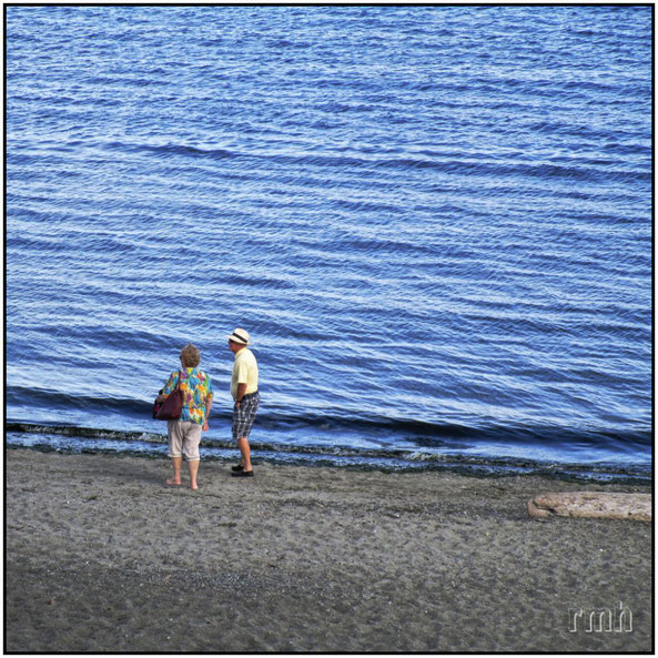 Retirees on the beach, Victoria, B.C., Canada
