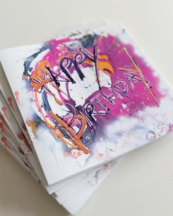 Moderne Grafitti Geburtstagskarte für Firmenkunden oder Mitarbeiter von UH-ART Design Rupperswil