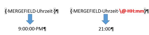 Sereindruckfeld ohne und mit Formatschalter für die Uhrzeit