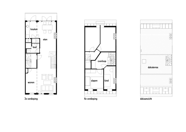 Plattegronden bovenappartement nieuwe situatie