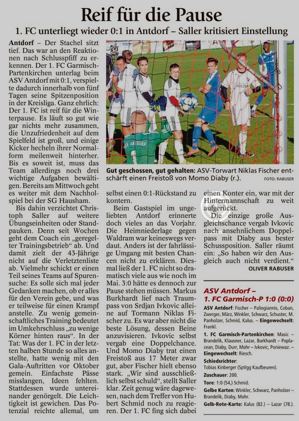 Ga-Pa Tagblatt vom 31.10.2016