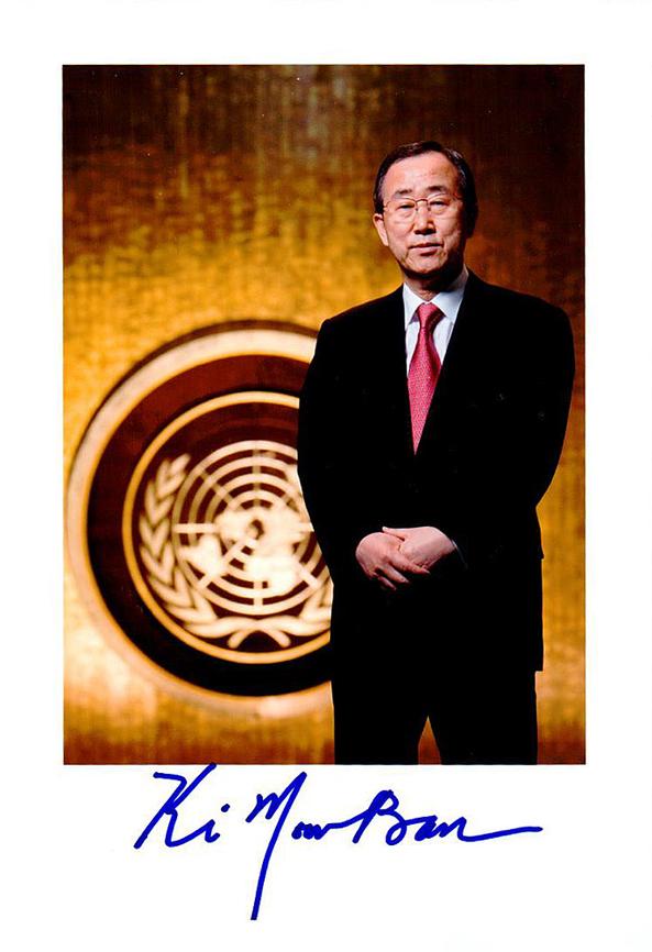 Autogramm Ban Ki-Moon Autograph