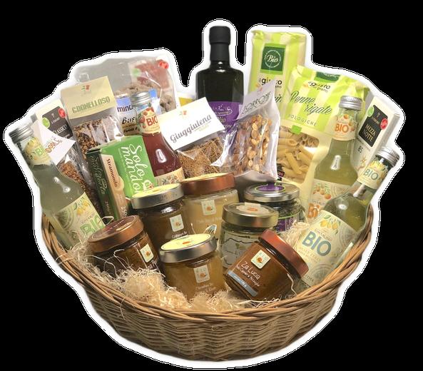 Cesti Regalo con prodotti bio della Sicilia, Personalisierte Geschenkkörbe nach Mass mit italienischen Spezialitäten und Geschenkartikeln aus Sizilien, bio Produkte aus Sizilien, gratis Lieferung