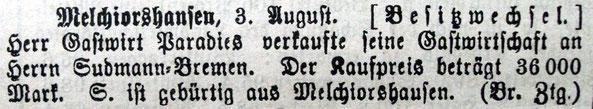 Syker Zeitung 05.08.1909