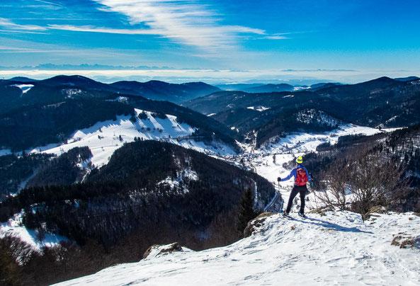 Fantastisch, der Blick über den Schwarzwald und auf die Alpen im Hintergrund