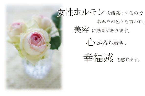 ピンクの花は、女性ホルモンを活発にするので、若返りの色とも言われ、美容に効果があります。心が落ち着き、幸福感を感じます。