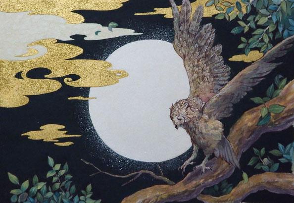 「時の物語 始まりの夜」 F6 紙本着彩・金箔