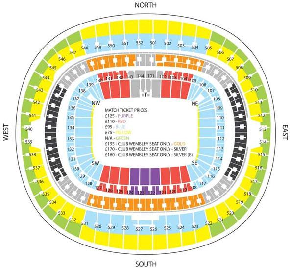 Stadionplan Wembley Stadium für Tottenham Hotspurs, Quelle: www.tottenhamhotspurs.com