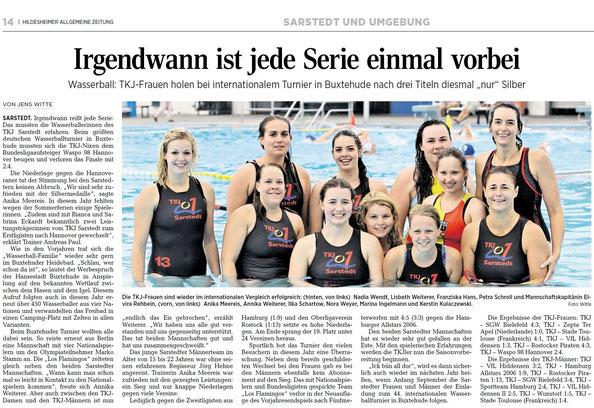 Nach drei Titeln in Folge müssen sich die TKJ-Wasserballerinnen Bundesligaaufsteiger Waspo 98 Hannover in Buxtehude beugen.