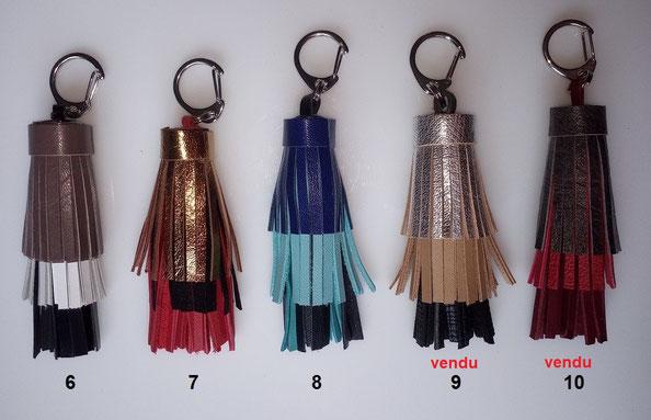 """Pompons """"TRICOLORE""""  : 8.00 €      Dimension hors mousqueton : 9 cm (à utiliser en bijou de sac ou porte-clefs)"""