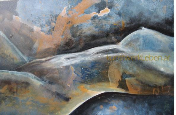 KÖRPERLANDSCHAFT, Acryl auf Leinwand, 90cm breit x 60cm hoch