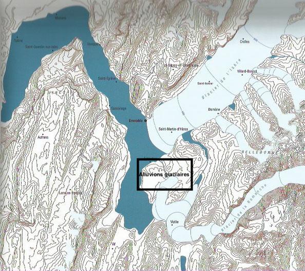 Extension glaciaire sur la région Grenobloise au Wurm il y a 22000 ans. Sylvain Coutterand Atlas des glaciers disparus