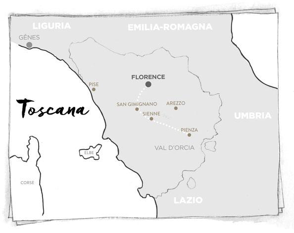 CARTE TOSCANE MARCELLOOO.FR BLOG VOYAGE ITALIE FLORENCE SAN GIMIGNANO SIENNE PIENZA VAL D'ORCIA PISE UNESCO