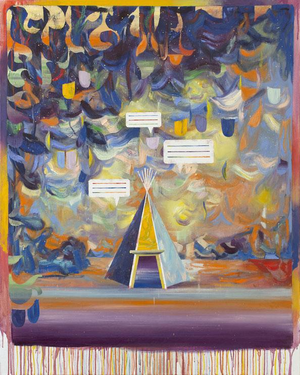 "Matthias Moravek, ""Tipi"", Öl/Leinwand, 120 x 95 cm, 2020"