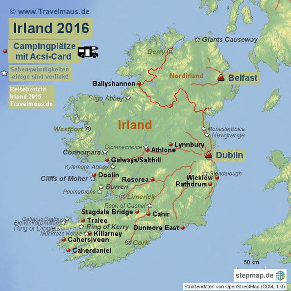 campingplätze irland karte Sehenswürdigkeiten & Campingplätze in Irland   Reisetagebuch der
