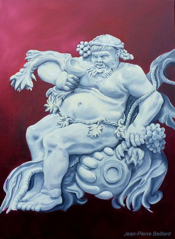 L'Ivresse de Silène - Huile sur toile 80x60 (D'après bas relief en Ivoire de Gérard Van Opstal,Sculpteur Flamand 1604-1668) - Peinture de Jean-Pierre Beillard