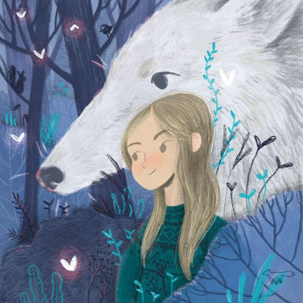 Mareike Ammersken Illustration Character Human Girl Dog Wolf Drawing