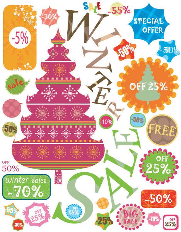 クリスマス・セールのラベル見本 christmas sale label vector