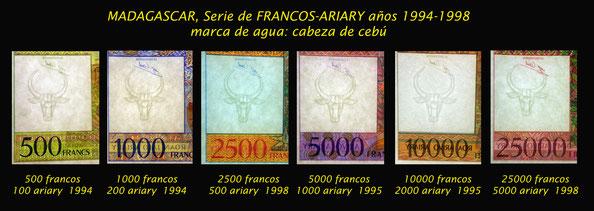 Madagascar serie de Francos -Ariary 1994-1998 marcas de agua