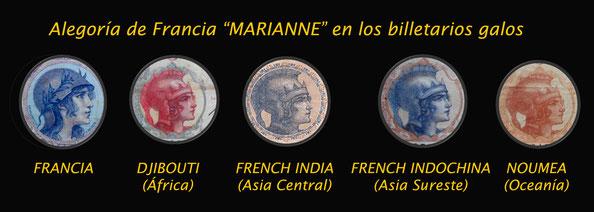 Alegorias MARIANNE en los billetarios de Charles Albert Walhaim(diseño) y Emile Deloche (grabado)