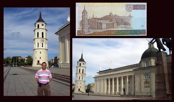 La Catedral de Vilnius y su campanario en el billete de 50 litus de Lituania de 2003