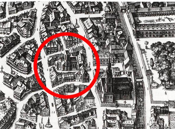 Plan der St. Andreas Kapelle und des Petersstifts und dessen Umgebung - zur Zeit des Mittelalters