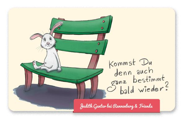 Mitbringsel Frühstücksbrettchen - Hase auf der Bank - Kommst Du denn auch ganz bestimmt bald wieder? leichte Verlustängste - Judith Ganter Illustration und Spruch - bei Rannenberg & Friends