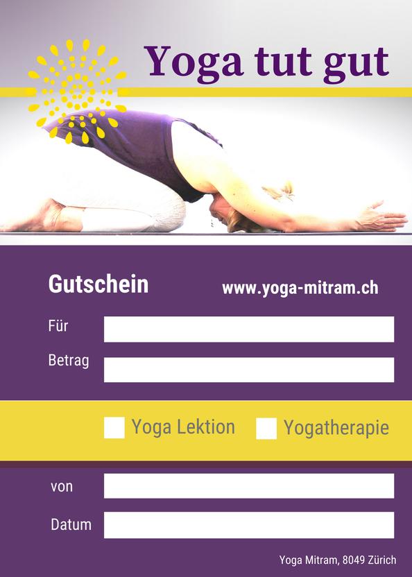 Gutschein für Yoga und Yogatherapie bei Yoga Mitram in Zürich Höngg