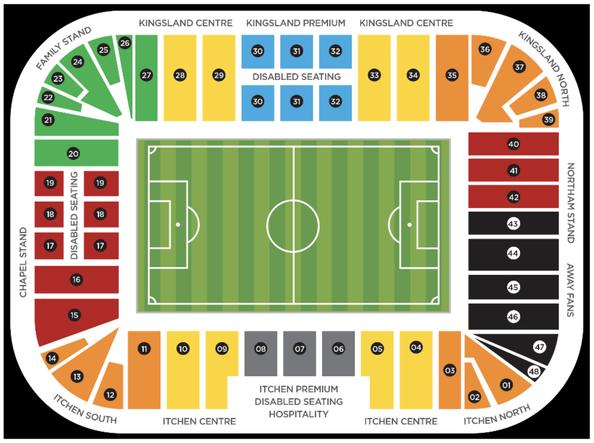 Stadionplan St Mary's Stadium FC Southampton, Quelle: www.premierleague.com