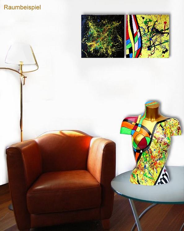 Torso 13 / 25, Skulptur, bunt, abstrakt, Art, Kunst, Malerei, Original, Unikat, Kunststoff, Acryl, Raumbeispiel