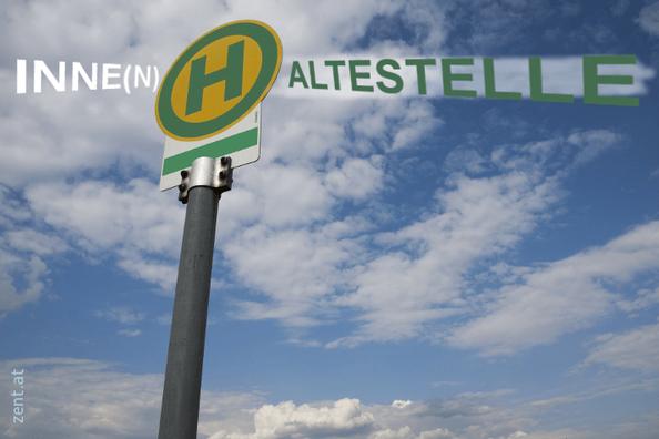 Schild mit H, rundherum Buchstaben ergeben das Wort INNEHALTESTELLE