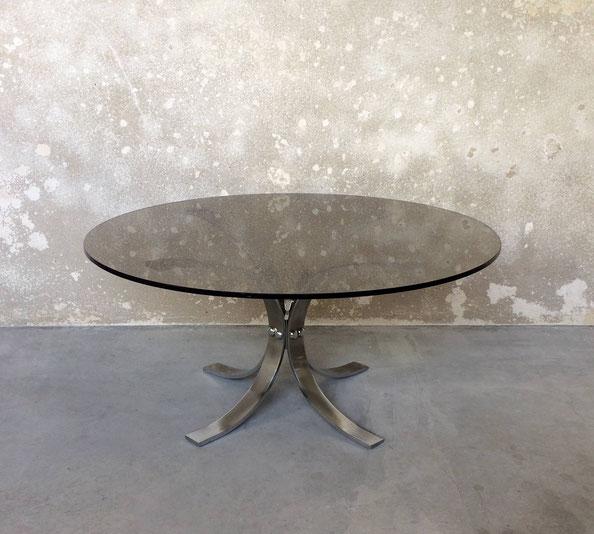table basse ronde verre fumé années 70