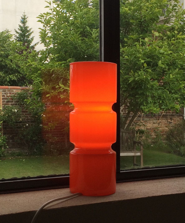 Joli, lampe verre, lampe vintage, opaline, lampe orange,