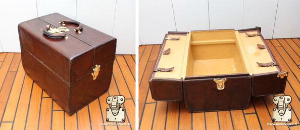 Sac Cabine Louis Vuitton  S'ouvre comme une malle idéale. Sac cabine Louis Vuitton a une structure bois.   Dimension : 52 cm x 35 cm x 40 cm