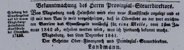 Abbildung aus dem Amtsblatt der Königlichen Regierung vom 9.12.1841