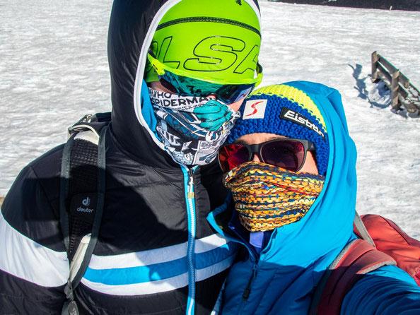 Oben auf dem Belchen war es bitter kalt. Ohne Gesichtsschutz hielt man es nicht aus.