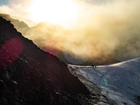 Übergang vom Gletscher zum Fuße des Wilden Pfaff