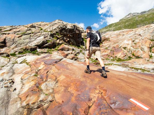 Wegfindung auf dem Gletscherschliff