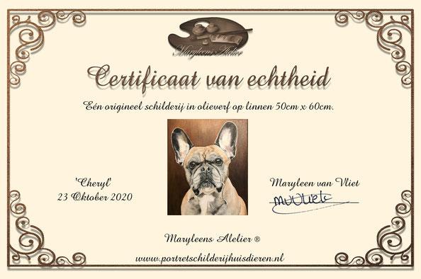 """olieverf schilderij van """"Maryleen van Vliet"""" Certificaat van echtheid."""