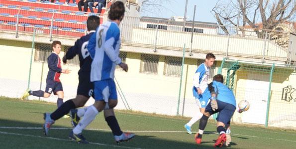 Nella foto la seconda rete dei biancazzurri (19'pt), la prima in campionato per Kevin Albini su assist di Cinquepalmi