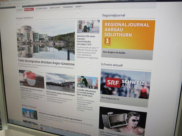 """Screenshot srf.ch mit der Rubrik Regional und """"Aargau Solothurn"""": Website der Regionalredaktion von Radio SRF."""