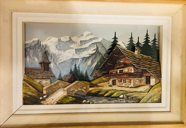 F.Raugel : grand paysage alpin en bois sculpté et peint