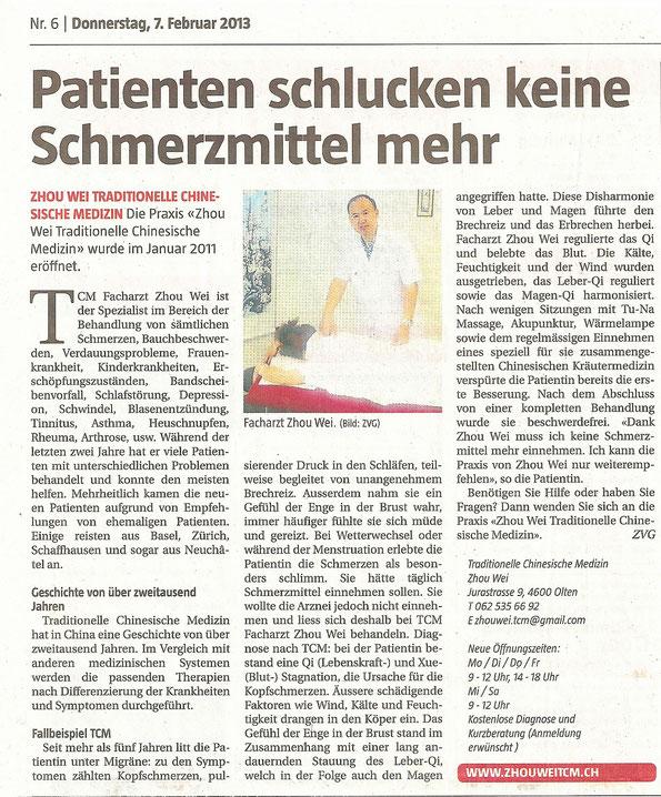 Stadtanzeiger Olten,07,02,2013