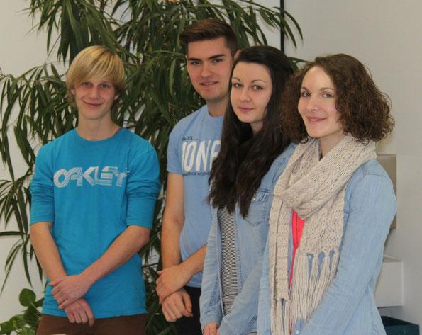 Von links: Aaron Faber, Dominik Weißer, Monika Kliese, Liesa Braun