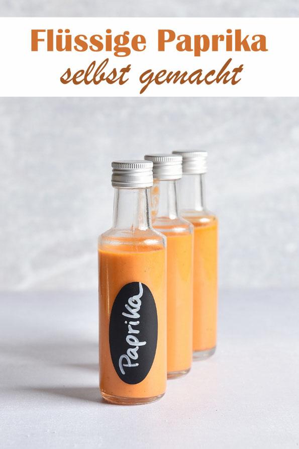 Flüssige Paprika selbst gemacht, zum Würzen, als Flüssigwürze, aus dem Thermomix, für alle Gerichte, Salatsoßen, Aufstriche und über Pizza etc.