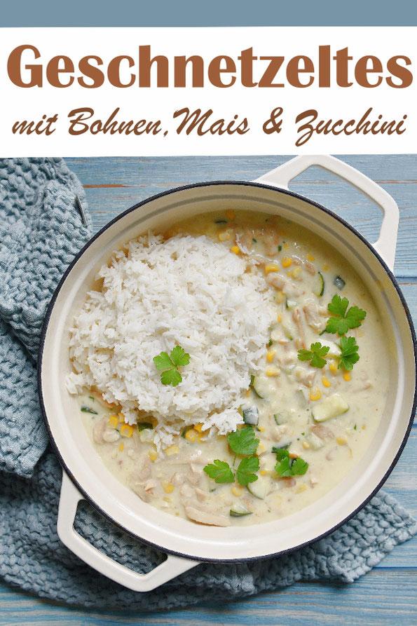 Geschnetzeltes mit Bohnen, Mais und Zucchini, leicht orientalisch gewürzt, wie eine Art Frikassee, aber doch etwas anders, dazu Reis, vegetarisch, vegan machbar, Familienküche, Mittagessen, Thermomix