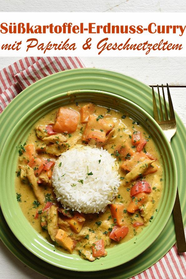 Süßkartoffel Erdnuss Curry mit Geschnetzeltem Hühnchen Art, dazu Reis, aus dem Thermomix, vegetarisch, vegan machbar, Familienküche, Mittagessen, lecker
