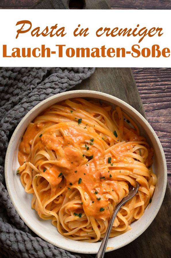 Tomatensoße mal anders mit Lauch und Chili, cremige Pastasoße zu Nudeln, Thermomix, vegetarisch, vegan, Familienküche, Mittagessen, ruck zuck unter 20 Minuten gemacht