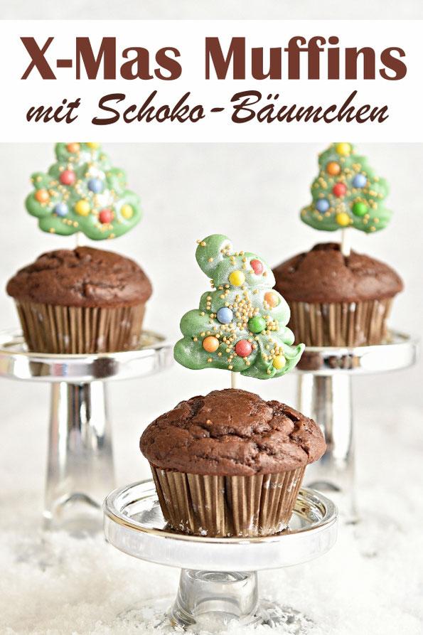 Weihnachtsmuffins, X-Mas Muffins mit Schokoladen Tannenbäumchen Deko, selbst gemacht, Thermomix