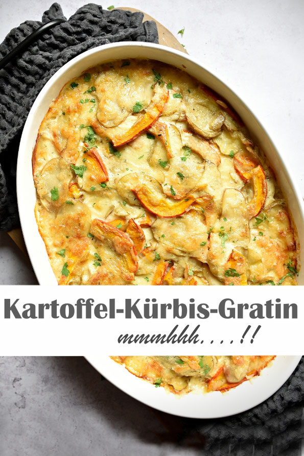 Kartoffel-Kürbis-Gratin - ohne Vorkochen der Zutaten, einfach schichten, mit Soße begießen und backen, die Hauptarbeit macht der Ofen, Mittagessen, Familienküche, vegetarisch, vegan machbar, Thermomix